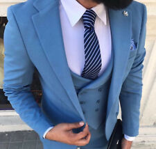 Designer Business Light Blue Blue Men's Suit Jacket Vest Fitted Slim Fit 44