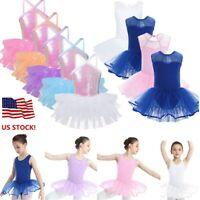 US Girl Ballet Dance Dress Mesh Tutu Leotard Sequin Gymnastics Dancewear Costume