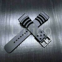 20 22 24 MM Black Silicone Rubber Watch Band Strap Fits Citizen Diver Black NOS