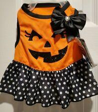 Halloween Sparkling Pumpkin Dog Dress Costume Size XS