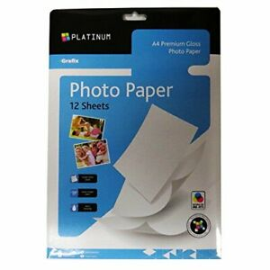 12 Sheets of Grafix A4 220 GSM Premium Glossy Photo Paper Photography Papers