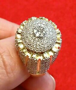 3.30 Ct Round Cut Diamond Cluster Engagement Wedding Ring14K Yellow Gold Over