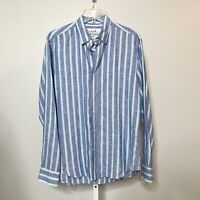 Frank & Eileen Size Medium Finbar Top Shirt 100% Linen Stripe Button Down Collar