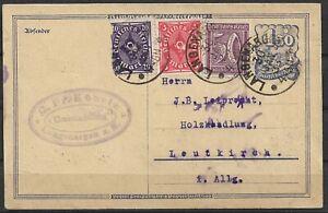 DR 1923 Ganzsachenpostk. P 148 ! - 1,50 M blau Postreiter,Langenargen-Leutkirch