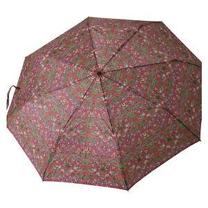 Strawberry Thief Red William Morris Folding Lightweight Umbrella Handbag Size