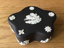 Black Jasperware pentefoil trinket/sweet box by Wedgwood, boxed