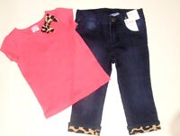 Gymboree Girls Right Meow Denim Jeans Leopard Bow Tee 12-18  4T NWT