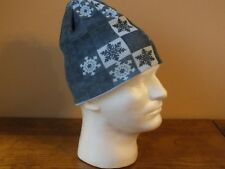 Pugs Gear Knit Winter Beanie With snow Flakes Blue Tones Cap