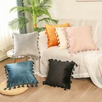 2x Tassels Velvet Cushion Covers Throw Pillow Cases Soft Sofa Decor NO CORE Cosy