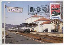 CARTE PHILATELIQUE LANGEAC BRIOUDE 1988 MULHOUSE MUSEES TECHNIQUE TRAIN