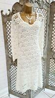 """Monsoon 💋 Stunning """"Violet"""" Ivory Sheer Crochet Knit Dress & Slip UK 18 Boho"""
