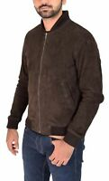 New Mens Brown  Suede Lambskin Leather Bomber Jacket Hot Stylish menswear S M L