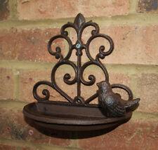 Wall Mounted Cast Iron Vintage Small Bird Bath Feeder Shabby Chic Garden New