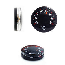 2pcs Portable Black Thermometer Plastic Round Pointer Temperature Sensor Tools Q