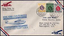 CHINA US 1937 HONG KONG TO SAN FRANCISCO FRANKED $2 +50¢ +300 HONG KONG AIR MAIL