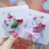 Fashion Kids Glitter Mini Hair Clip Baby Star Rainbow Hairpin Unicorn Headdress