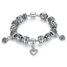 European Silver Bracelet with Black & WHITE European Charms & Murano Beads