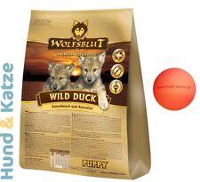 15 kg WOLFSBLUT HUNDEFUTTER PUPPY/WELPEN WILD DUCK MIT ENTE & KARTOFFELN + BALL