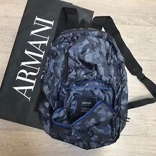 BNWT Armani Jeans Mochila Bolsa Plegable Azul Mochila De Camuflaje 100% Genuino