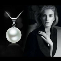 Genuine white Freshwater Pearl Fashion Pendant Necklace Silver Chain Jewelry
