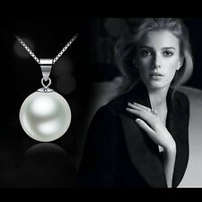 Pearl Fashion Genuine white Freshwater Pendant Necklace Silver Chain Jewelry CHI