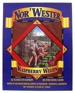 Nor'wester Brewing Co of WA -  NOR'WESTER RASPBERRY WEIZEN  beer label WA 12oz