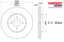 Unipart Front Brake Discs (Pair) For Ford Focus/Turnier ST170 OE 2M5V1125AB