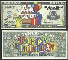 Happy Birthday Wishes Million Dollar Bill Collectible Funny Money Novelty Note