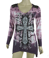Sugar Rock Women Tie Dye Lace Tunic Shirt Crystal Cross Shark Bite Size XS - 3XL