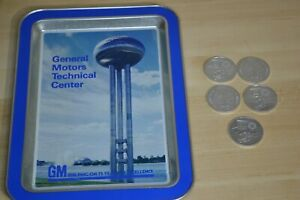 1983 GM General Motors Tech Center 75th Anniversary Tray + Proving Grounds Coins
