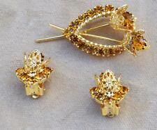 Vintage Goldtone Champagne Rhinestones Set Clip-On Earrings Pin Brooch