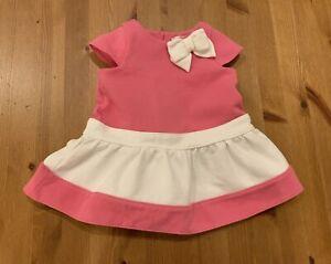 Janie & Jack Girls 3-6M Pink & White Bow Dress 2014 Vintage