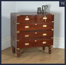 Small Antique Anglo Indian Teak Brass Military Campaign Chest of Drawers c.1840