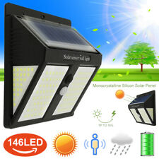 146 LED Solar Powered PIR Motion Sensor Light Garden Security Wall Lamps Outdoor