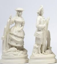 ANTIQUE 19TH CENTURY PARIAN WARE pair c1880 Shepherd Shepherdess figures