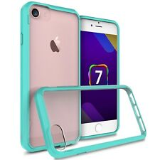 Hybrid Slim Fit Hard Back Cover Phone Case for Apple iPhone 7 Teal / Clear