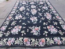 Old Hand Made Indian Kashmir Wool Black Hooked Stitchwork Rug 368x262cm