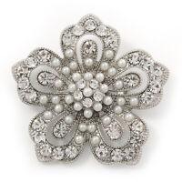 Faux Pearl Crystal Flower Brooch In Silver Tone Metal - 5cm Diameter