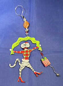 """""""Love Me Love My Cat"""" Metal and Bead Christmas Ornament"""