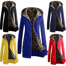 Women Long Sleeve Zip up Leopard Fleece Hoodie Cardigan Coat Sweatshirt Jacket