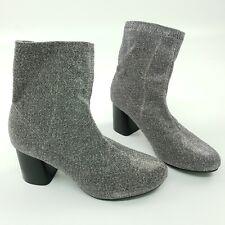TRUFFLE Collection Womens High Heel Boots UK 5 EU 38 Silver Shiny Glitter BRAND