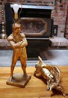 Vintage 50s Marbro Mid Century Hollywood Regency Gold MATADOR Bull Fighter Lamp