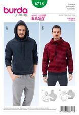 Burda Mens Easy Sewing Pattern 6718 Hoodie & Sweater Top (Burda-6718)