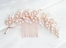 Rose gold bridal pearl and crystal hair comb