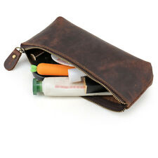 Handmade Retro Leather Pencil Pen Pouch Glasses Toolkit Dressing Case Pocket Bag