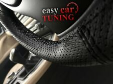 FOR PEUGEOT 406 BLACK PERFORATED GENUINE REAL LEATHER STEERING WHEEL COVER