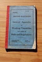 BRITISH RAILWAYS GENERAL APPENDIX TO WORKING TIMETABLES 1 OCT 1972