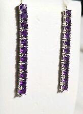 Ross Simons Sterling silver purple amethyst stick tennis earrings