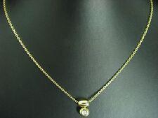 14kt 585 GIALLO Collier con 0,10ct GUARNIZIONE con brillante diamante// 6,4g/46,0 cm