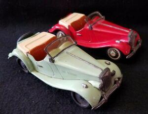 2 1950's Bandai MG Midget Convertible Roadsters Friction Cars for Repair/Parts